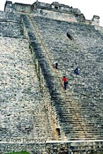 Maya pyramid steps at Uxmal, Mexico
