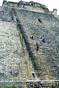 Maya pyramid steps at Uxmal, Mexico